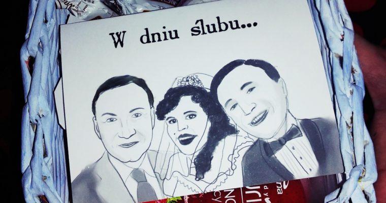 Kartka ślubna w koszyczku - Życzenia ślubne z prezydentem